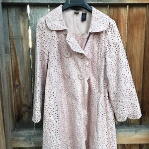 Anthropologie Pink Eyelet Coat